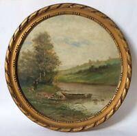 Peinture Ancienne Huile XIXème - Paysage, Rivière, Lac, Personnage, Barque