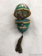 LARGE ANTIQUE PORCELAIN EGG SEWING ETUI THIMBLE, SCISSORS & STILETTO CIRCA 1880