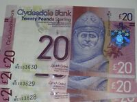 Qty 7, Clydesdale Bank Scotland, £20 Banknote, Uncirculated, Consec 11 July 2015