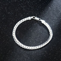 Women 925 Solid Silver Bracelet 5MM Snake Chain Bangle Fashion Jewelry Gift