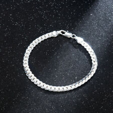 Women 925 Solid Silver Bracelet 5MM Snake Chain Bangle Fashion Jewelry Gift