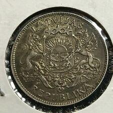 1924 LATVIA SILVER 1 LATS SCARCE COIN