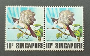 Singapore 1978 Red Whiskered Bulbul 10 Cent Stamp Pair MNH