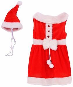 Mrs. Claus Dog Dress & Hat - LARGE - Red Velour - Santa - Christmas - Rubies NWT