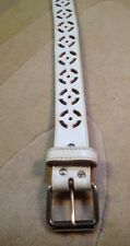 LEATHER BELT SZ XS White Cut Out Circles Geometric Pattern Chrome Metal Hardware
