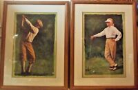 GLEN GREEN RENOWN GOLF ARTIST FRAMED MATTED PRINTS-THE DRIVE &THE FIRST TEE PAIR
