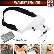 Lightweight Magnifying Glasses Head Light Adjustable 2 LED Magnifier with 5Lens.