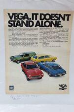 """Vintage Automobile Advertisement 11 X 14"""" 1971 Chevrolet Vega  (A7)"""