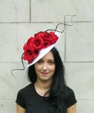 157dff5a2c1b4 Large Black Red White Poppy Rose Floral Teardrop Flower Fascinator Hat Hair  7285