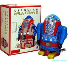 CRAGSTAN MR. ATOMIC ROBOT Windup Tin Toy Blue Schylling Toys - SALE!