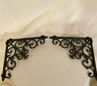 2 LARGE  Black Cast Iron WALL BRACKETS CORNER PLANT HANGERS shelf support brace