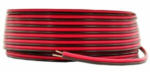 20 GA Gauge 100' FT Speaker Wire Red Black Zip Cord Cable CCA Mix 2 Conductor