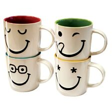 4x Large Tea Coffee Latte 11oz Stoneware Printed Funny Faces Mugs Cups Gift Set