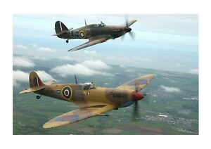 Spitfire & Hurricane 2 A4 photograph picture poster choice of frame