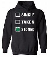 Single Taken Stoned HOODIE Sweatshirt Sweater Hooded Marijuana Leaf Weed Kush