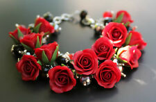 HANDCRAFTED Fashion rose polymer clay wedding PRETTY flower BRACELET! HANDMADE
