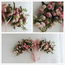 Artificial Peonies Pink Flower Garland Home Garden Lintel Wedding Decor Wreath