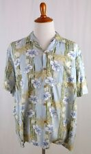 Paradise Found XL Hawaiian Shirt Blue Beige Floral Short Sleeve
