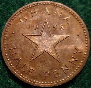 HI GRADE PROOF 1958 1/2 PENNY GHANA-ONLY 20.000 MINTED