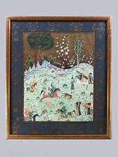 MINIATURE persane peinte sur tissu, encadrée, chevaux, chasse, tir à l'arc