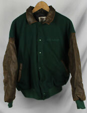 Vintage Windows 2000 Varsity Leather Jacket Sz XL Green Embroidered
