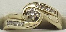 SOLID 9CT YELLOW GOLD NATURAL DIAMOND ENGAGEMENT & WEDDING BAND RING SET