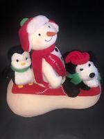 Hallmark Jingle Pals 2007 Sleigh Ride Music Motion Plush Snowman Penguin Dog