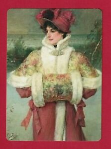 Beautiful Art Deco Lady in The Snow  - Modern Linen Swap Playing Card