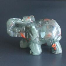 40mm Hand carved blood stone elephant figurine animal carving L9886