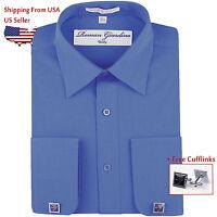Men's Long Sleeve Button Classic Fit Cotton Dress Shirt Sky Blue w/ Cufflink