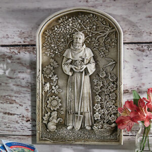 "12 1/4"" Stoneresin Garden Plaque Saint Fiacre Patron of Gardeners"