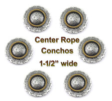 Conchos Lot Of 6 Antique Silver & Gold Center Rope Rodeo Leather Craft 1-1/2 ""