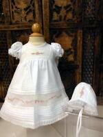 NWT Will'beth White Heirloom Rose Lace Dress Gown 3pc Dress Newborn Girls Bonnet