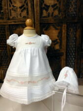 NWT Will'beth White Heirloom Rose Lace Dress Gown 3pc Dress Newborn Girls Bonnet