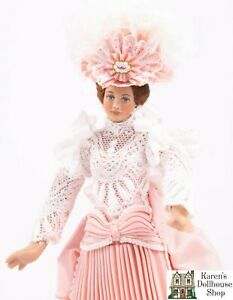 Dollhouse Miniatures ~ Joanne Roberts Beautiful Lady Doll with Pink Dress & Hat