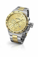 Mens TW Steel 45mm Canteen Silver Gold Stainless Steel Chronograph Watch CB53