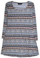 Ladies New Plus Size Tunic Aztec Print 3/4 Sleeve Womens Swing Top Size 12 - 20