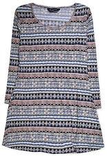 Ladies Plus Size Top Women Aztec Print Tunic T shirt Blouse Size 12 14 16 18 20