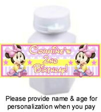 30 Baby Minnie Mouse Birthday Party Shower Bubble Labels Stickers Favors Pink