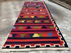 Hand Knotted Vintage Afghan Maimana Surpuri Kilim Wool Area Runner 12.7 x 4.5 Ft