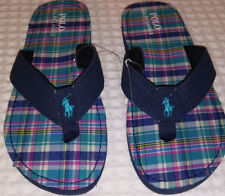 POLO RALPH LAUREN NAVY-TURQUOISE PLAID FLIP FLOPS-CHILD SZ 5 ADULT SZ 7-New