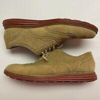 Cole Haan Grand OS Tan Beige Suede Nubuck Wingtip Oxfords Shoes Sz 10.5M C21132