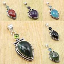 925 Silver Plated Natural PERIDOT, MOSS AGATE & Other Gemstone Pendant To Choose