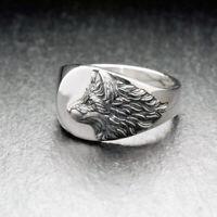 Men's Punk Viking Wolf 925 Silver Ring Boyfriend Gift Knuckle Ring Jewelry