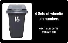 wheelie bin numbers, 4 sets for all your bins, numbers 51 - 99