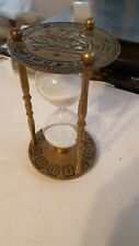 """Vintage 7"""" Brass Sand Hourglass Zodiac Sign Roman Numeral Patina Father Time"""