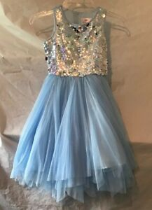Justice Light Blue Dress. Sequins & Tulle. Multi Layer Bottom. Size 7. NWT.