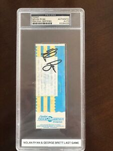 Nolan Ryan and George Brett final game ticket - Signed by Ryan, 10/13/1993