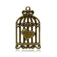 2 CUORE Bird Cage Charm Ciondoli Tono Bronzo Antico