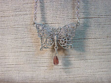 """JJ"" Jonette Jewelry Silver Pewter Lace Butterfly Pendant 16"" Necklace"
